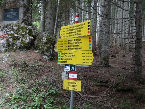Les nombreux panneaux indiquant les sentiers dans le Parc du Durmitor