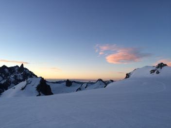 Vue sur le glacier depuis le bivouac