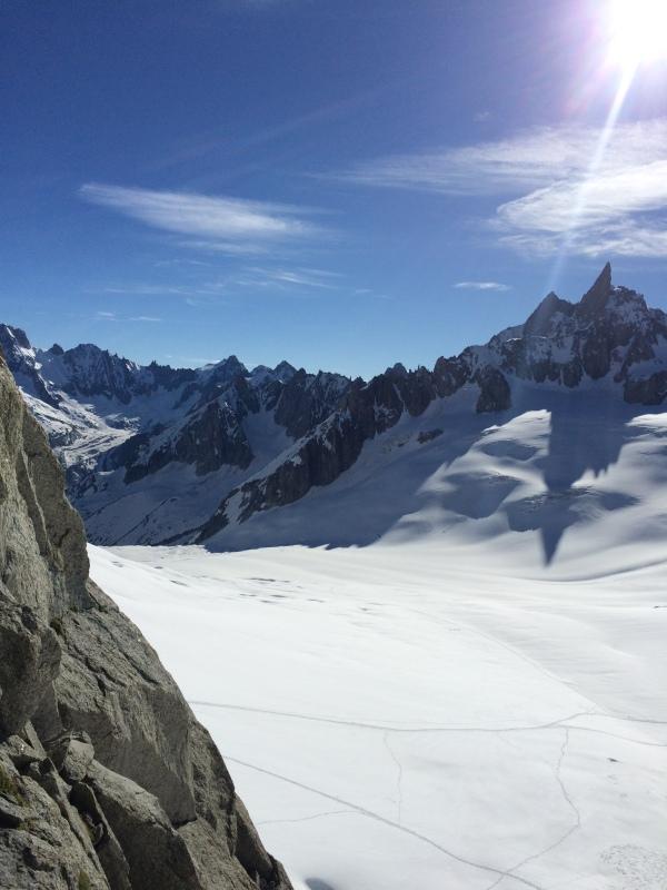 Vue sur le glacier du Géant depuis la pyramide du Tacul