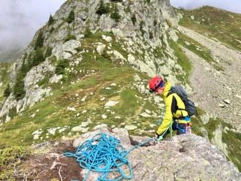 Mise en place du rappel sur la via corda du Pic Janvier