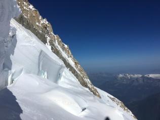 Les seracs sur la voie des Trois Monts du Mont Blanc