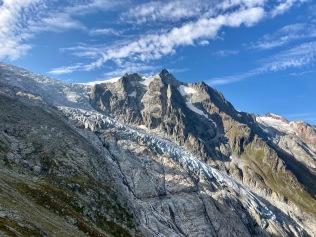 Sur le Tour du Mont Blanc - vue sur le glacier du Trient