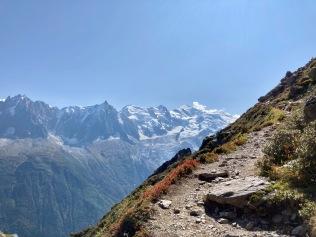 Sur le Tour du Mont Blanc - vue sur le Mont Blanc depuis les balcons de Chamonix